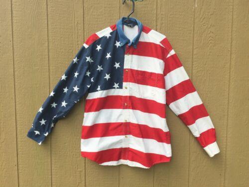 Roper Western American Flag Stars & Stripes Shirt Man Medium100% Cotton Cowboy