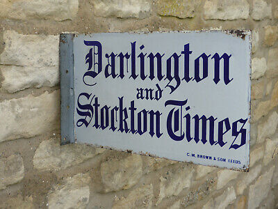 Original Darlington & Stockton Times. Vintage Double Sided Enamel Sign.