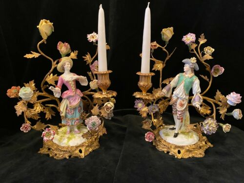 Fine Pair Of Porcelain Flowers & Couple on Gilt Dore Bronze Mounted Candelabras