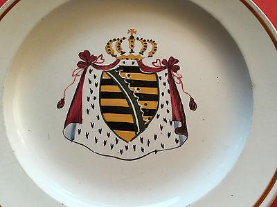 Wappenteller Königreich Sachsen um 1890, Steingut, Historismus, Carl A. Zschau