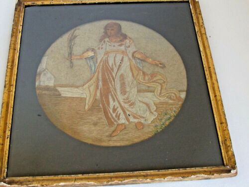 Antique Silk and Wool Needlework Picture of a Young Woman c.1820