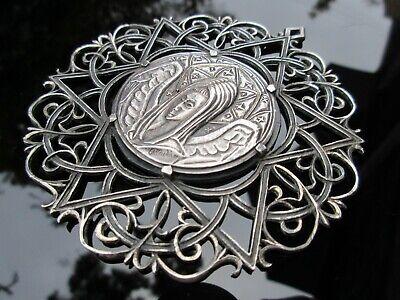 Rare antique vine pendant with layered design 1.8 inch 4.5 cm Long signed Alpaca