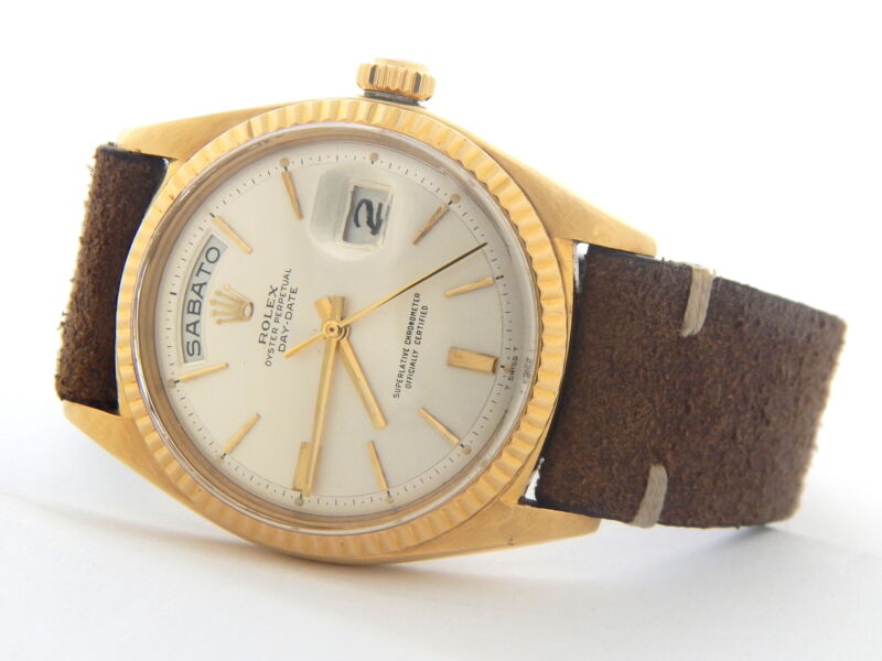 Vintage Rolex Day-date 1803 Solid 18k Yellow Gold Watch Brown Band Silver Dial