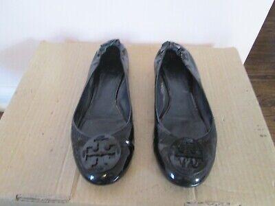 TORY BURCH Reva Flats Black Patent Leather Ballet Shoes Women's Sz 8? insole (Tory Burch Black Patent Leather Reva Flats)