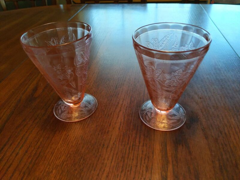 "2 Depression glasses Jeannette Floral Poinsettia 4-5/8"" Footed Pink Tumblers"