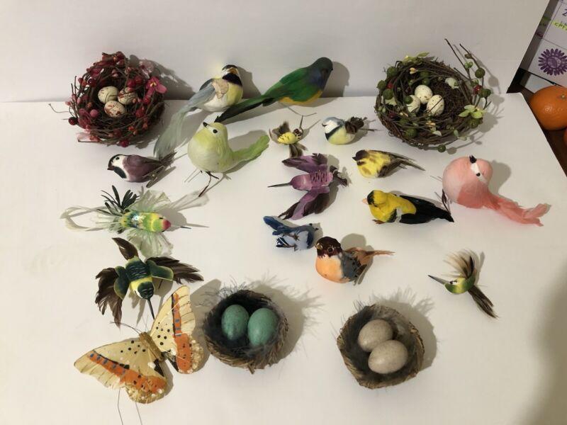 Lot of 20 bird nests w/eggs, Misc  birds, humming birds, butterfly, crafts
