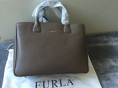 FURLA Black SAFFIANO LEATHER TOTE Taupe made in Italy authentic