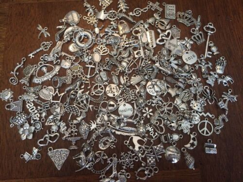 GRaB BaG LoT Of 100 ~ MiXeD ThEMe STyLe SiLvER ChArMs PeNdAnTs FRee USA SHiPPiNg