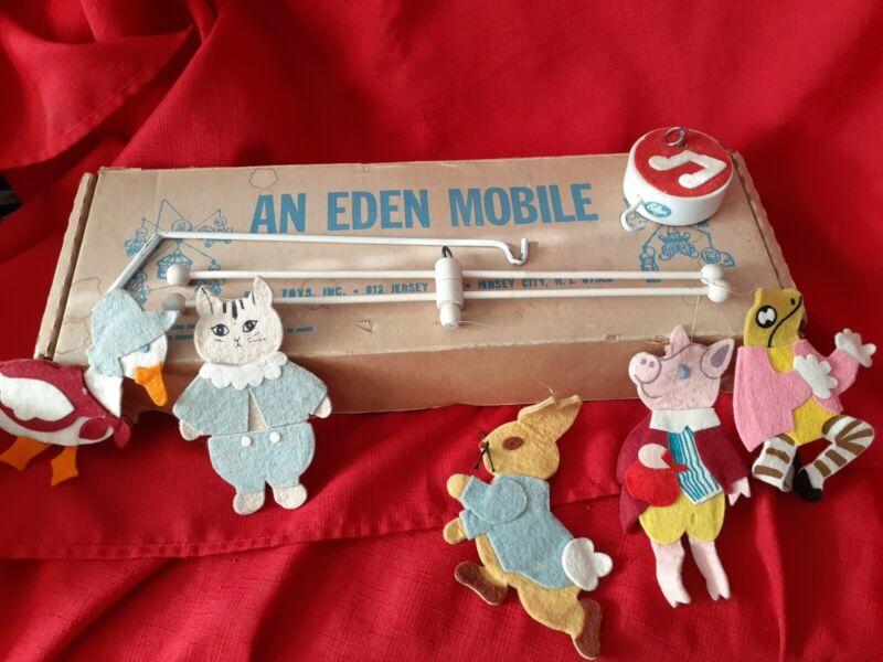 Vintage Nursery Rhymes Crib Mobile by Eden 40555 in original box Peter Rabbit