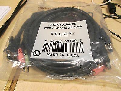 Belkin F1D9101BEA06 Omniview 1.8M OMNVW USB SOHO SER USB W/ AUDIO KVM Cable NEW