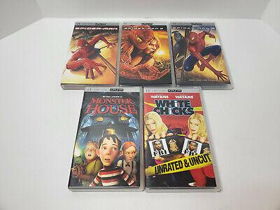 Sony psp umd Movie Lot of 5, Spiderman 2 3, Monster House White Chicks
