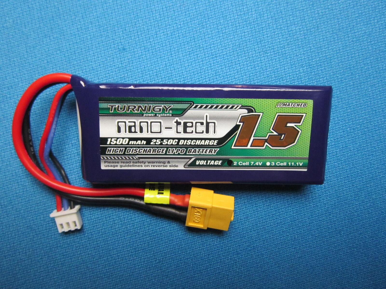 TURNIGY NANO-TECH 1500mAh 2S LIPO BATTERY 7.4V 25C XT60 LATR