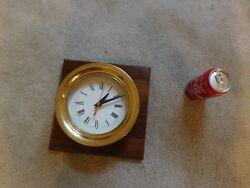 Ships Vintage Steam Gauge Solid Brass Quartz Clock Marine Navy USN