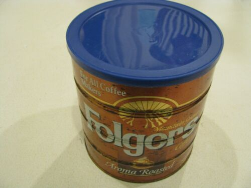 39 OZ Folgers COFFEE Tin Can 2LB 7OZ blue lid Big Lebowski For All Coffee Makers