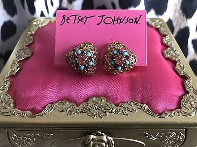 Betsey Johnson Turqs & Caicos Gold Filigree Puffy Heart Pink Blue Stud Earrings Crystal Studded Puffy Heart
