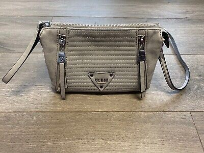 GUESS PRESLEY TOP ZIP CROSS-BODY BAG IN GRAY PURSE