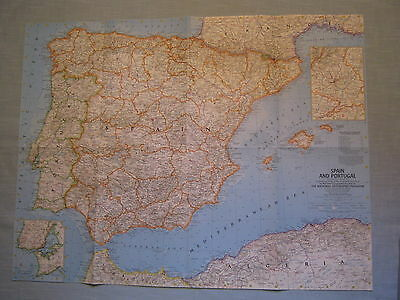 VINTAGE SPAIN AND PORTUGAL MAP National Geographic March 1965 MINT