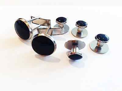 NEW Black Silver Tuxedo Cuff links Formal Shirt Studs Tux Cuff Links Tuxedo Shirt Studs