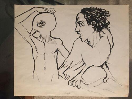"""Vintage Josef M. Kozak Original Art """"Half Man~Half Bird"""" DRAWING Signed Unframed"""