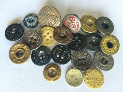 """20 Antique Work Clothes/Overall Buttons 7/16"""" - 13/16"""" Big Mac Watch the Wear"""