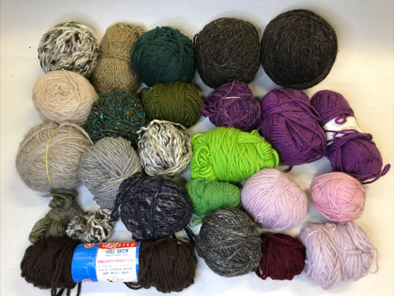 Vintage Large Lot 100% Wool Yarn 18 Balls Skeins Green Purple Brown Natural 3lbs