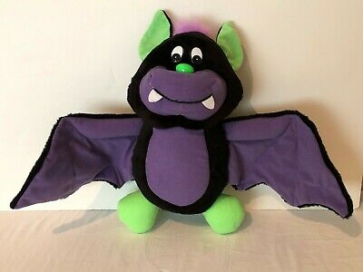 Vintage Cloud 9 Halloween Plush Bat Purple Black Green 16