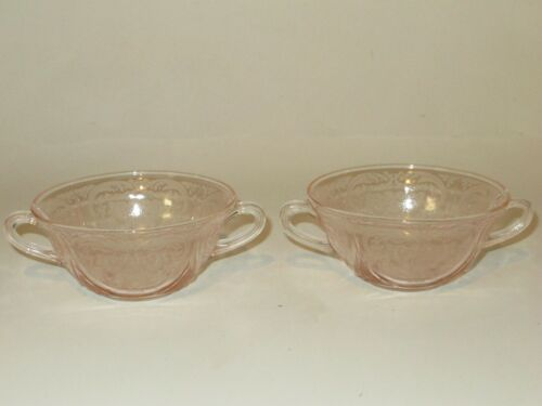 Vintage Hazel Atlas Depression Pink Glass Royal Lace Cream Soup Bowl Pair