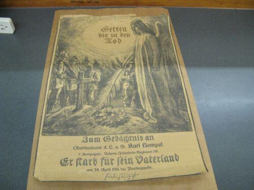 WWI German Death Memorial 1915 Named Karl Hempel Poelcappelle Flanders Infantry