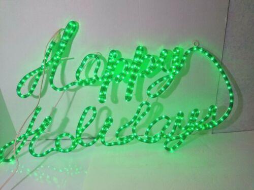 "VTG LARGE 39"" HAPPY HOLIDAY GREEN LIGHT-UP SIGN LED CHRISTMAS HOLIDAY DECOR"