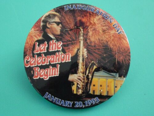 President Bill Clinton Inauguration Button January 20,1993 Rare Playing Sax 3""