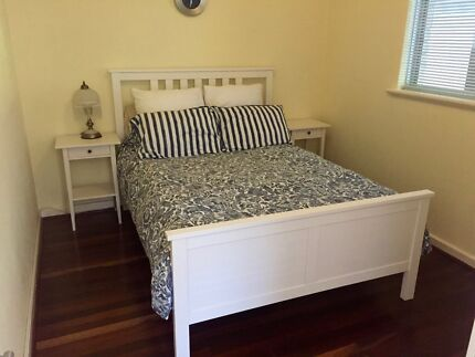 Hemnes White Double Bed, bedside tables, wardrobe, underbed draws