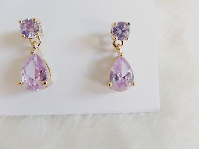 KATE SPADE NEW YORK Gold-Tone Crystal  Drop Earrings Purple  K0047 Gold Tone Purple Crystal