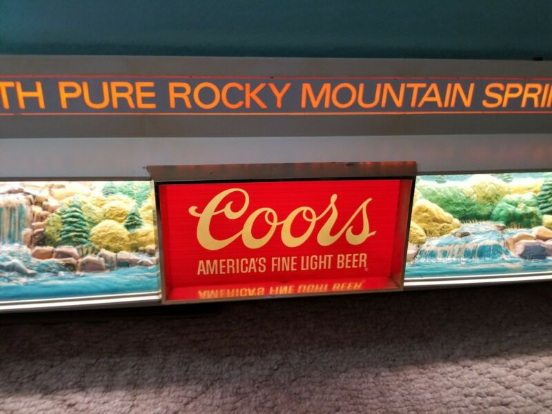 Vintage 1970s 3D Coors Rare Lighted Sign With Clock 51x13 Huge Summer Scene!