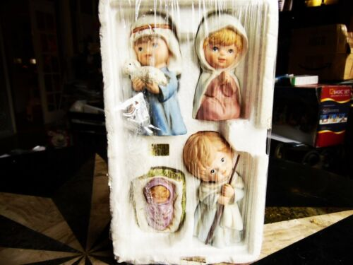 """4 PC BY HOMCO CHRISTMAS HOLIDAY NATIVITY FIGURINES PORCELAIN TALLEST 4 1/4""""H"""