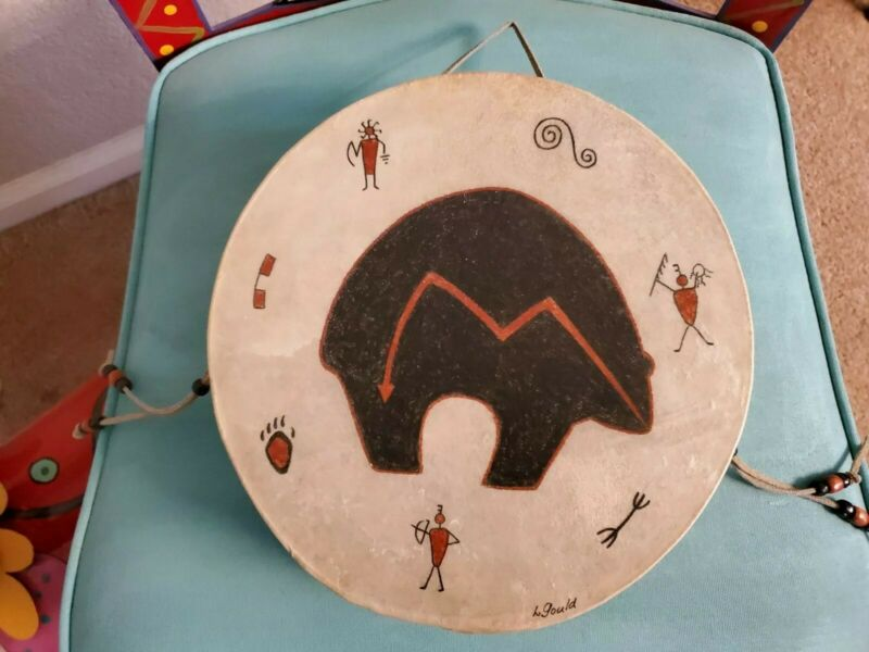 "Linda Gould Desert Drums 10"" Painted Indian Drum, Leather,  Tarahumara"
