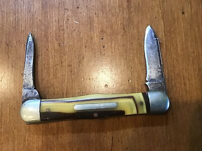 1917-1946 Schrade Cut Co Walden NY 2 Blade Pocket Knife Unique Perfect Scales