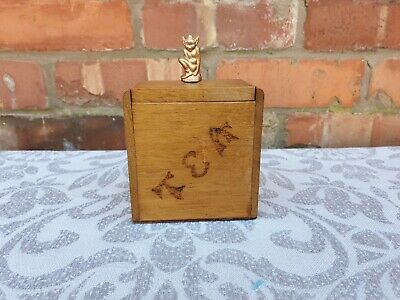 Vintage wooden tea caddy with brass goblin figure as handle 1940s