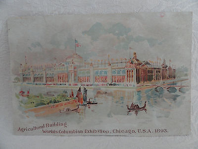 RARE 2-Sided 1893 Columbian Expo Chicago Agricultural Bldg & Native American