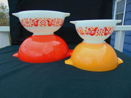 Vintage PYREX Friendship Birds Set of 4 Cinderella Mixing Nesting Bowls 441-444