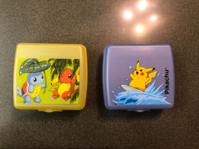 Tupperware Pokemon Sandwich Keepers Set Of 2, Pikachu and Charmander & Squirtle