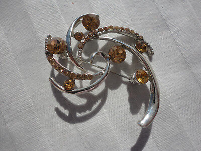 Silverplated paveset amber crystal 6gram 45mm deco abstract swirl bouquet brooch