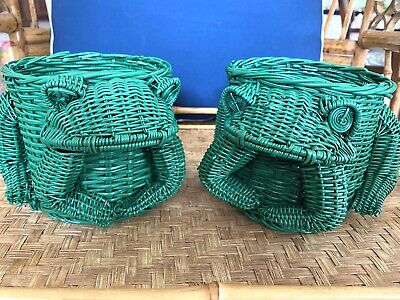 Vintage Pair Green Wicker Animal Small Sitting Frogs Planterpalm Beach Style