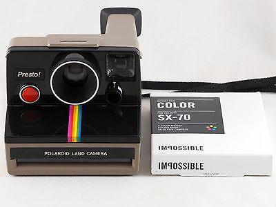 Vintage Polaroid Presto SX-70 Rainbow Stripe Instant Camera with Film TESTED