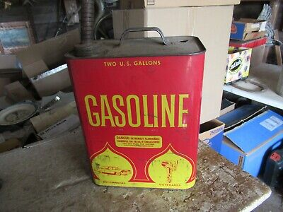 Vintage 2 Gallon Gas Can Nice Graphics Car Truck Tractor  Lot 21-56-1