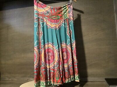 UP USA WOMENS Size S M, L  MULTICOLOR Shorts Culottes FOLD OVER Waist NWOT TEAL -