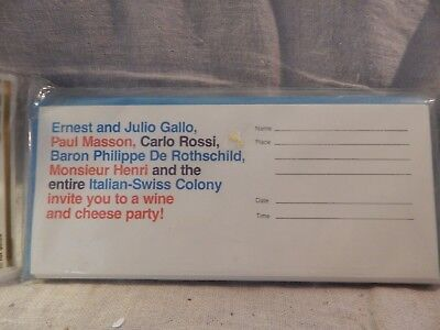 """Vintage 1970s Invitations 18 """"Italian Swiss Wine and Cheese Party"""" Al Corchia"""