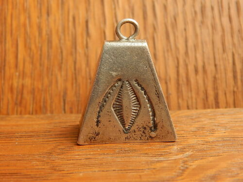 Navajo Ringing Bell Hand Made Stamped Sterling Silver Necklace Large Pendant