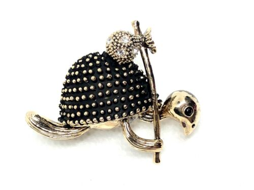 "turtle Brooch pin clear rhinestones gold tone1.5""x1.25""   GIFT mothers day #5"