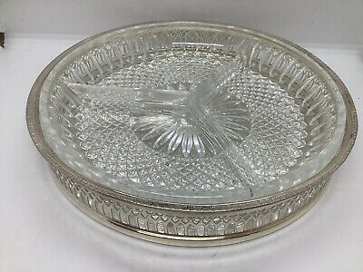 Silver Plated With Three Glass Sectioned Dish