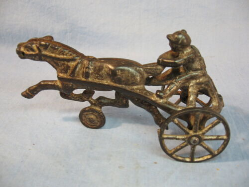 Antique Cast Iron Silky Trotter Horse & Buggy